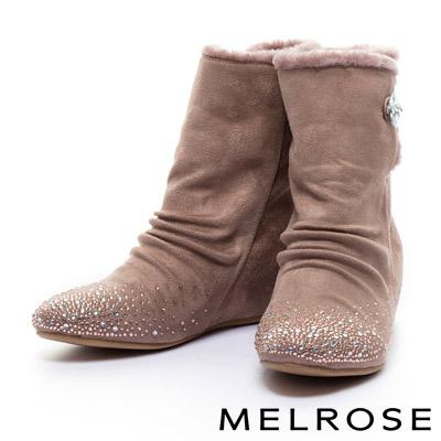 短靴MELROSE毛毛氛圍晶鑽內增高高筒短靴-米