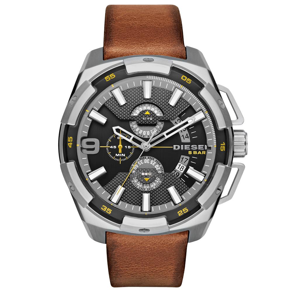 DIESEL 數度空間三眼計時時尚男錶-鐵灰x咖啡錶帶/48mm