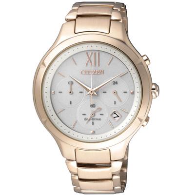 CITIZEN L 光動能 幸福擁抱計時腕錶(FB4013-51A)-銀x玫瑰金/37mm
