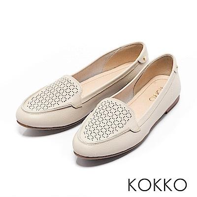 KOKKO - 夏日清新雕花真皮平底莫卡辛休閒鞋-質感米