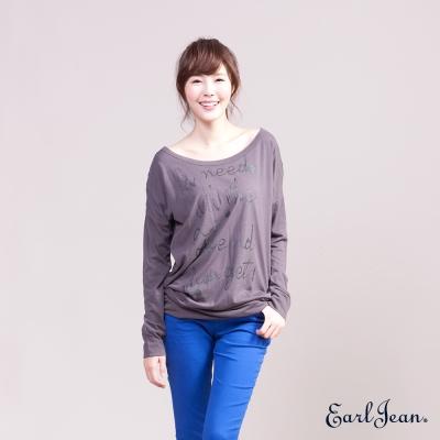 Earl Jean飛鼠袖雪紡印花女T恤-女-深灰