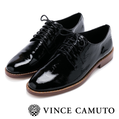 VINCE CAMUTO 英倫古典 漆皮金屬圓釘邊低跟牛津鞋-鏡黑