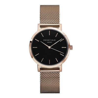 ROSEFIELD The Tribeca系列 玫瑰金金屬錶帶-黑x玫瑰金框/33mm
