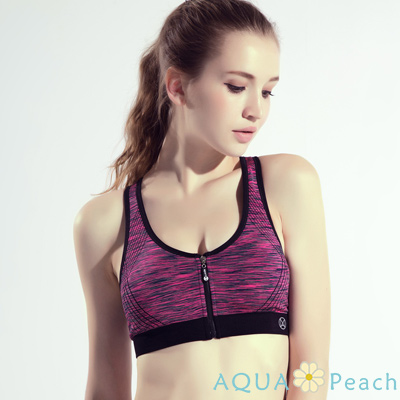 運動內衣 緞染色彩撞色邊拉鍊背心 (玫紅色)-AQUA Peach