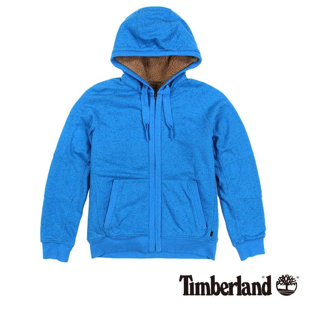 Timberland男款瑞典藍保暖刷毛長袖連帽外套