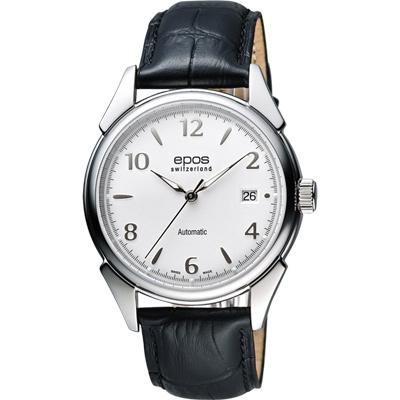 epos 午夜巴黎 奧斯卡復古機械腕錶-銀x黑/40mm