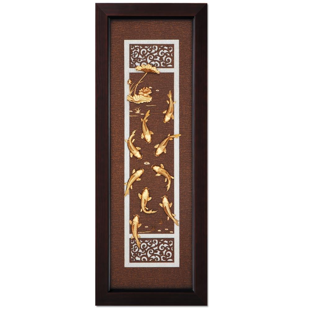 鹿港窯-立體金箔畫-九如呈祥(框畫系列38x102cm)