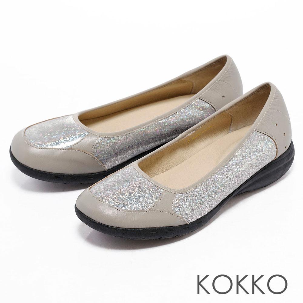 KOKKO通勤OL -輕鬆走異材質拼接休閒便鞋 -科技銀
