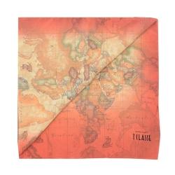 Alviero Martini 義大利地圖 地圖渲染絲巾-橘/地圖黃 (45X180)