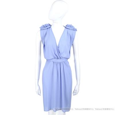 SEE BY CHLOE 粉藍色抓褶設計深V無袖洋裝