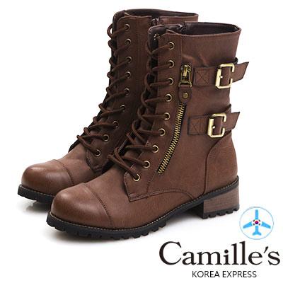 Camille's 韓國空運-金屬釦皮帶綁帶雙拉鍊軍靴-咖啡