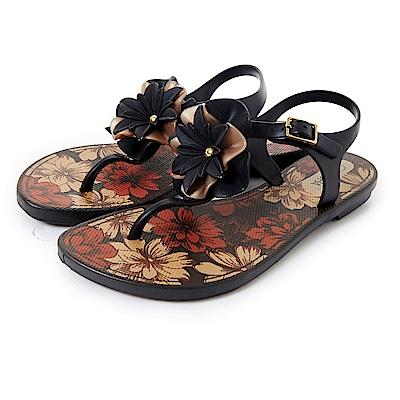 GRENDHA 南洋風花漾時尚涼鞋-黑色 @ Y!購物