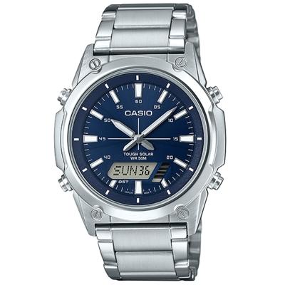 CASIO 實用商務雙重顯示太陽能電力雙顯不銹鋼錶(AMW-S820D-2A)藍面41.1mm