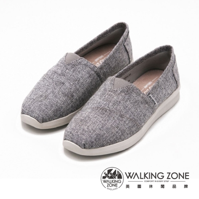 【WALKING ZONE】透氣休閒國民便鞋 女鞋-米(另有藍、黑)