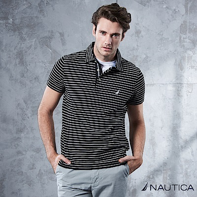 Nautica 簡約細條紋短袖POLO衫 -黑