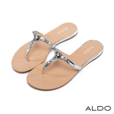 ALDO-璀璨晶鑽T字佐金屬微笑線夾腳涼鞋-奢華銀
