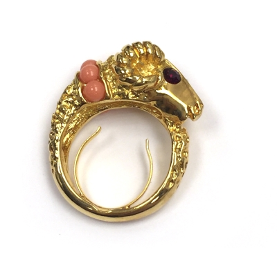 Kenneth Jay Lane 好萊塢巨星最愛 魔羯戒指 鑲白鑽珊瑚紅珠珠頸  附原廠盒