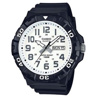 CASIO 旋轉計時潛水風三針運動錶(MRW-210H-7A)-黑X白面53.1mm
