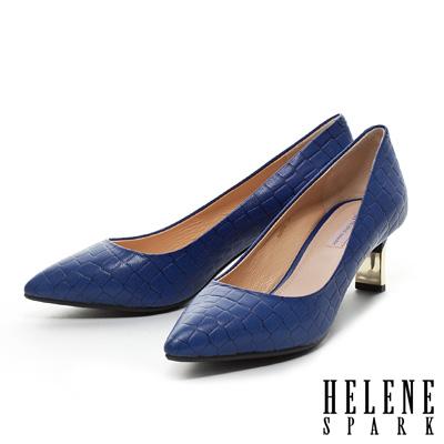 HELENE-SPARK-金屬造型鞋跟鱷魚壓紋羊皮