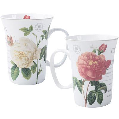 《CreativeTops》Kew寬口骨瓷馬克杯(百葉薔薇300ml)