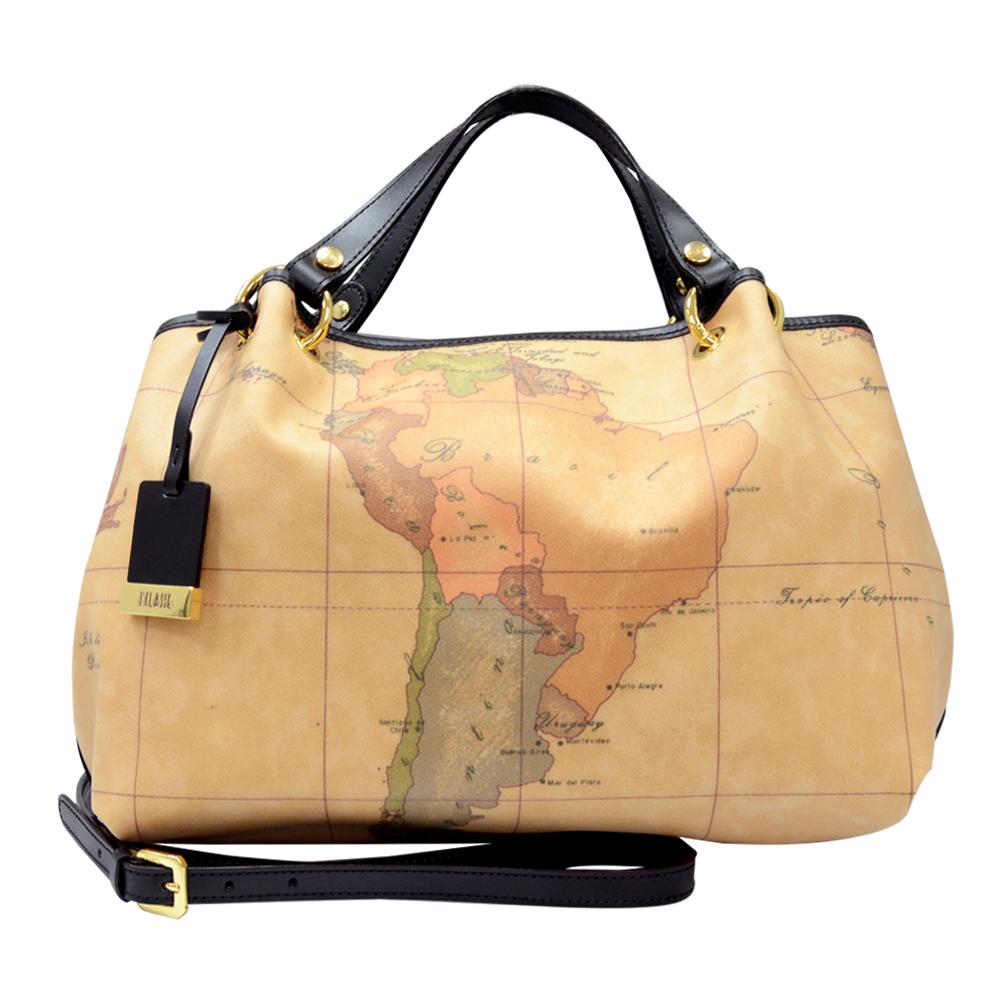 Alviero Martini 義大利地圖包 2WAY多層短把手提肩背包-地圖黑