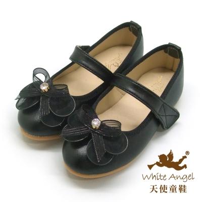 天使童鞋 蝶戀花公主鞋 (中-大童) 黑 JU86