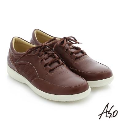A.S.O 3D超動能 真皮寬楦奈米休閒鞋 咖啡色