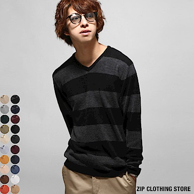 V領針織衫上衣(20色) ZIP日本男裝