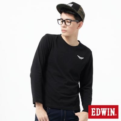 EDWIN-T恤-配色印花圓領T恤-男-黑色