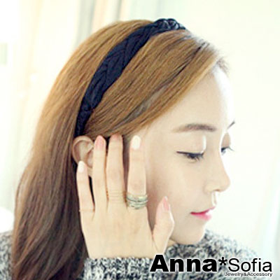 【3件5折】AnnaSofia 氣質三股編側辮 垂直交叉紋彈性髮帶(酷黑系)