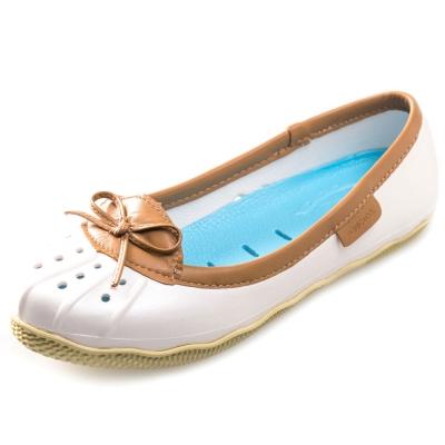 (女)Ponic&Co美國加州環保防水真皮滾邊娃娃鞋-白色