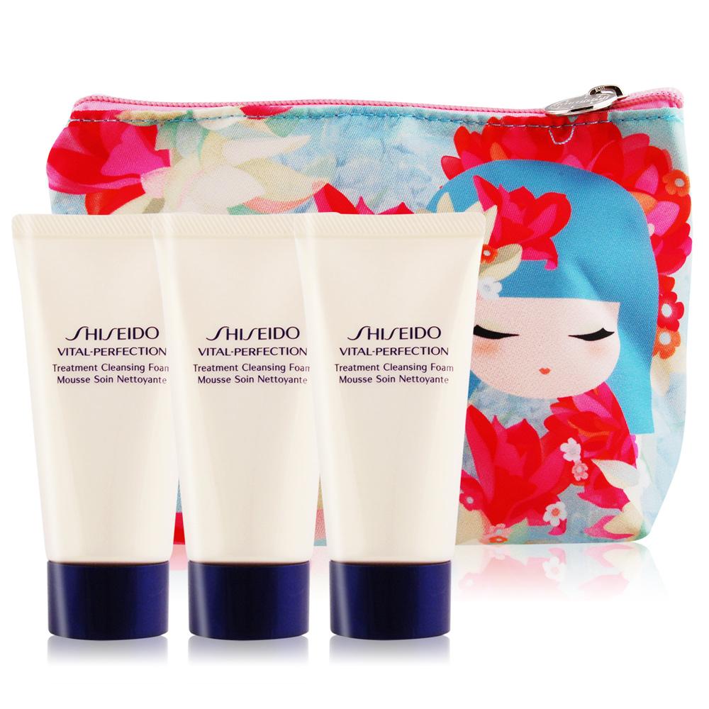 SHISEIDO資生堂 全效抗痕 亮采賦活潔膚乳50mlX3贈桃色花化妝包