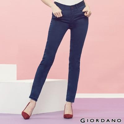 GIORDANO-女裝中腰輕磨毛修身窄腳褲-04藍色