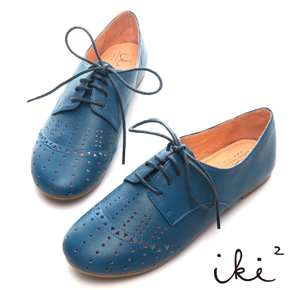 iki2 文藝復興-真皮鏤空舒適牛津鞋-藍