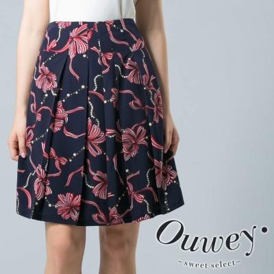OUWEY-時尚滿版絲巾花短裙