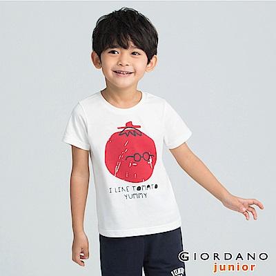 GIORDANO  童裝夏日繽紛印花短袖T恤-02 皎雪