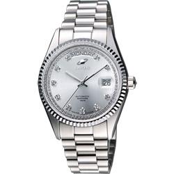 ENICAR 英納格 自動系列恆動晶鑽機械腕錶-銀/38mm
