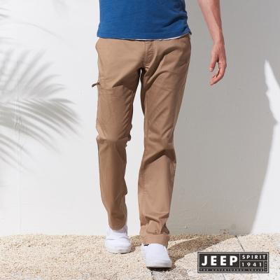 JEEP 簡單率性文字刺繡口袋長褲 (淺卡其)