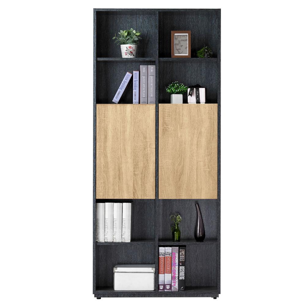 AT HOME-布拉格2.7尺鐵刀橡木紋二門長門書櫃
