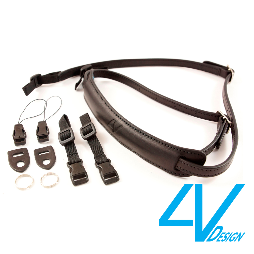 義大利4V LUSSO-SLIM系列相機背帶SP01B-VV0909-黑/黑色(S)