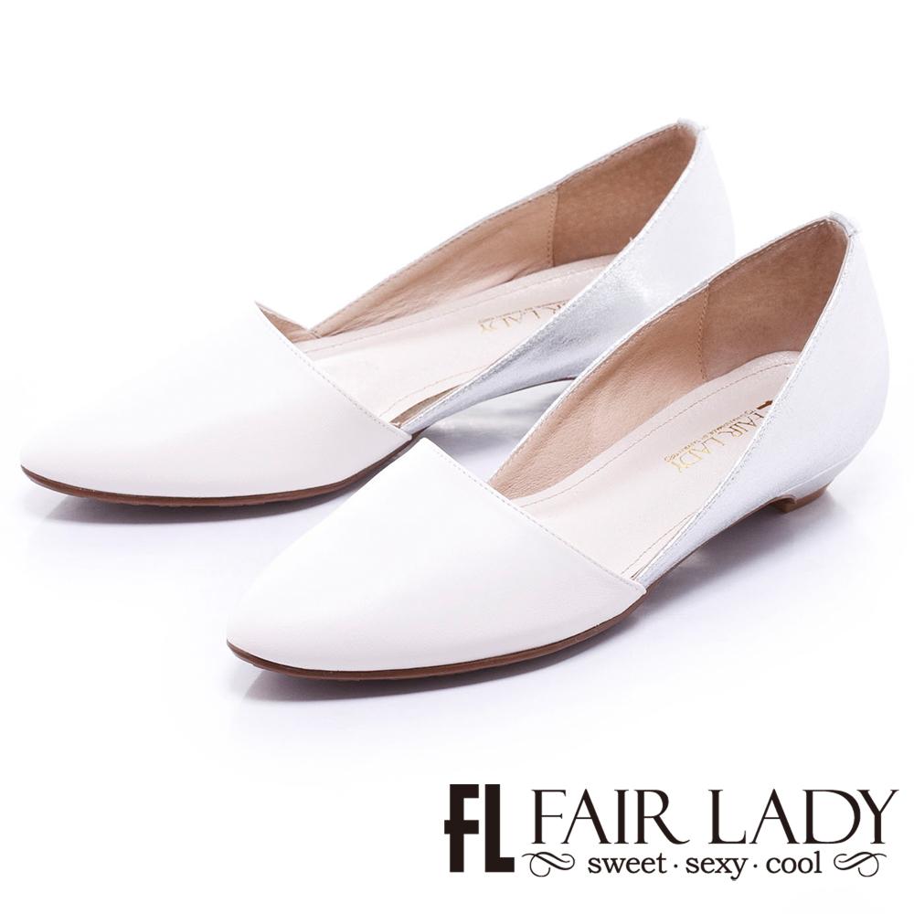 Fair Lady 金屬風撞色尖頭低跟鞋 白