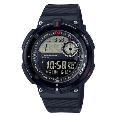 CASIO 世界地圖概念雙傳感器數位運動錶(SGW-600H-1)-黑框-45mm