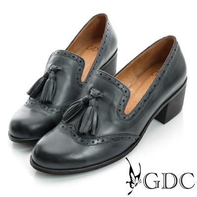 GDC復古-牛津樂福紳士真皮中跟鞋-藍色