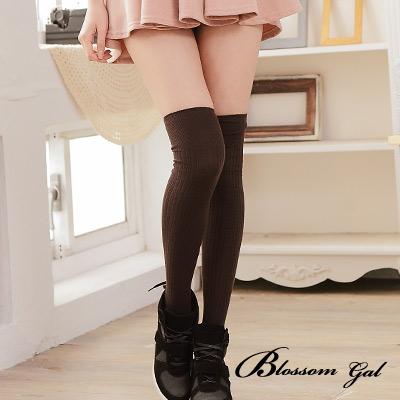 Blossom Gal韓版甜美純色直羅紋膝上襪2入組(共16色)