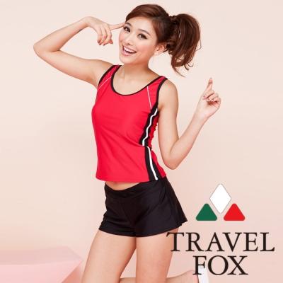 TRAVEL FOX夏之戀 運動休閒風長版三件式泳衣