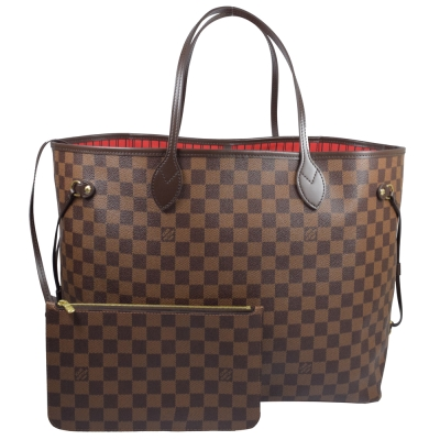 LV N41357 NEVERFULL GM 棋盤格紋子母束口購物包.大