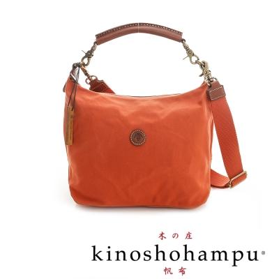 Kinoshohampu 牛皮提把手提帆布包 橘