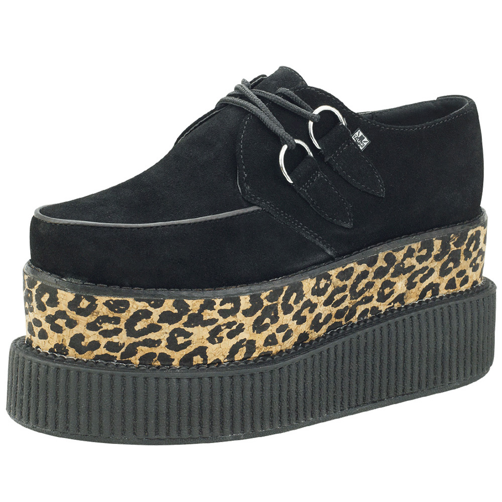 TUK麂皮增高厚底10公分龐克鞋-黑/豹紋