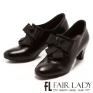 Fair Lady 獨特百摺結飾高跟踝靴 黑