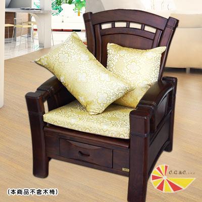 【凱蕾絲帝】帝王金~實木椅專用緞面記憶聚合坐墊(54*56CM)4入
